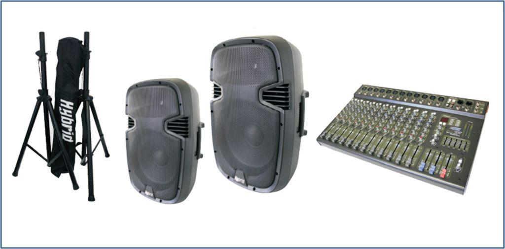 Public Address system with mixer, speaker stands and speakers